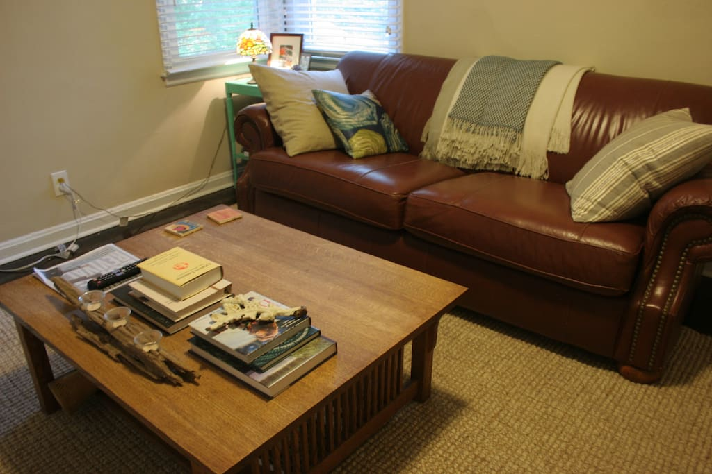 Cozy living room with smart TV, Hulu, and Amazon Video