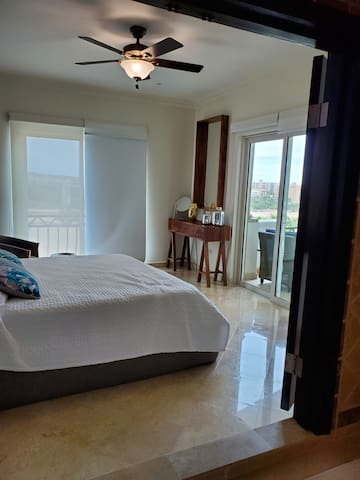Master bedroom with Oceanview. Large attached bathroom. Balcony access from Master. Blackout shades.