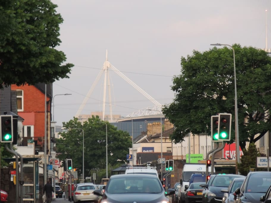 The Principality Stadium seen from the street outside.