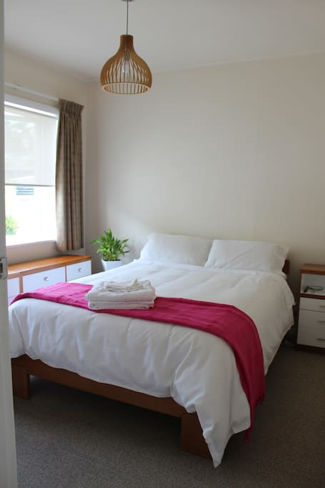 Bedroom with super-comfy mattress, electric blanket, large wardrobe and ample cupboard space.