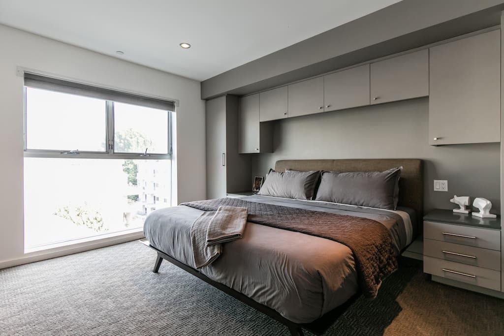 Modway bedframe, Helix mattress, Linens by Matteo