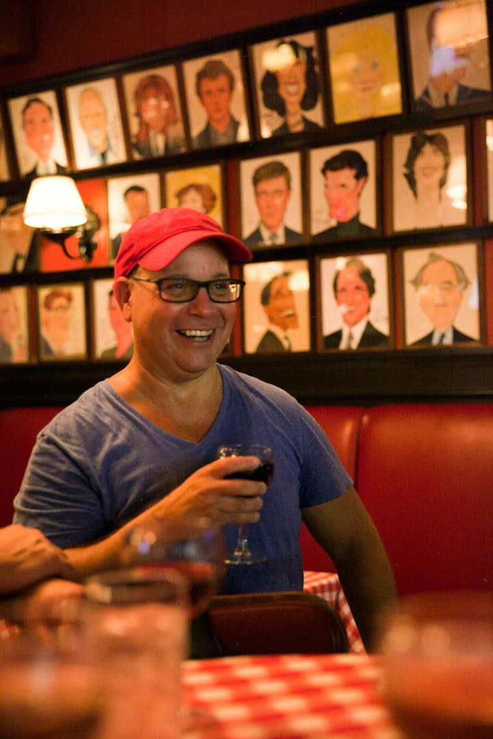 Toasting guests at Sardi's