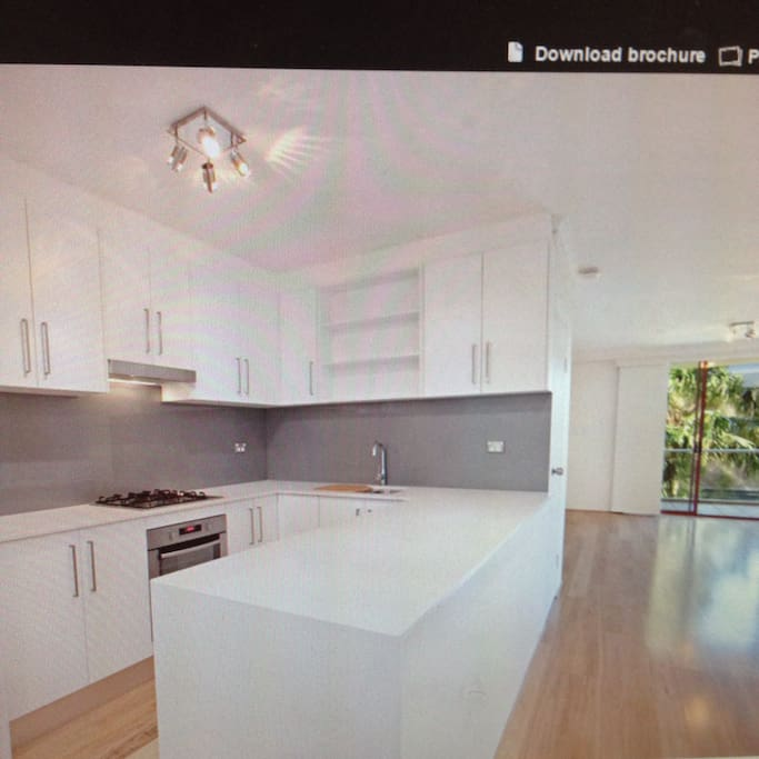 New kitchen with gas stove, dishwasher