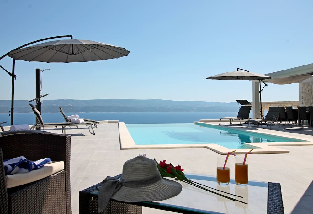 Private 32m2 heated pool with sun deck area, 8 lounge chairs and 2 parasols
