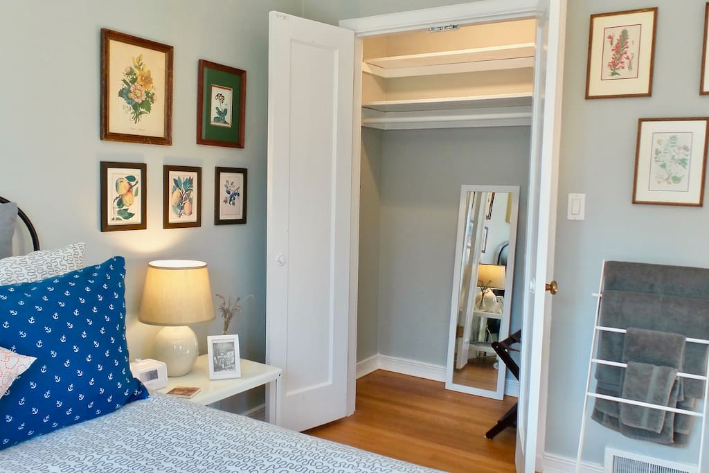 Large lighted closet with double doors