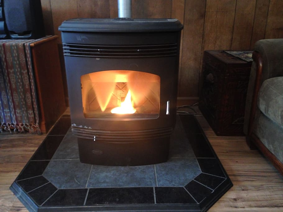A pellet stove keeps the common area toasty in winter