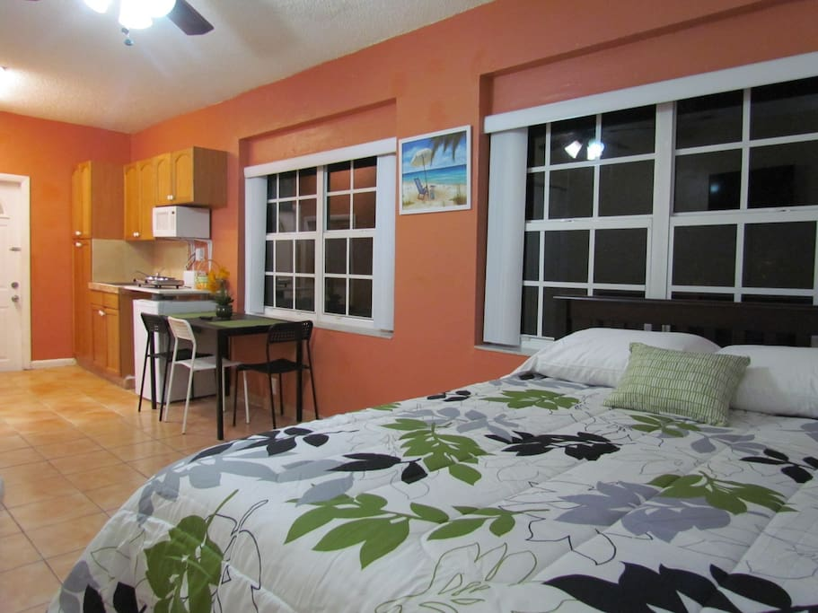 Full size bed with full size trundle bed and kitchenette.
