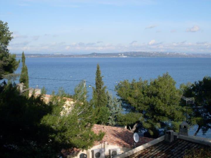 Studio mer, terrasse avec jardin vue sur lagune.