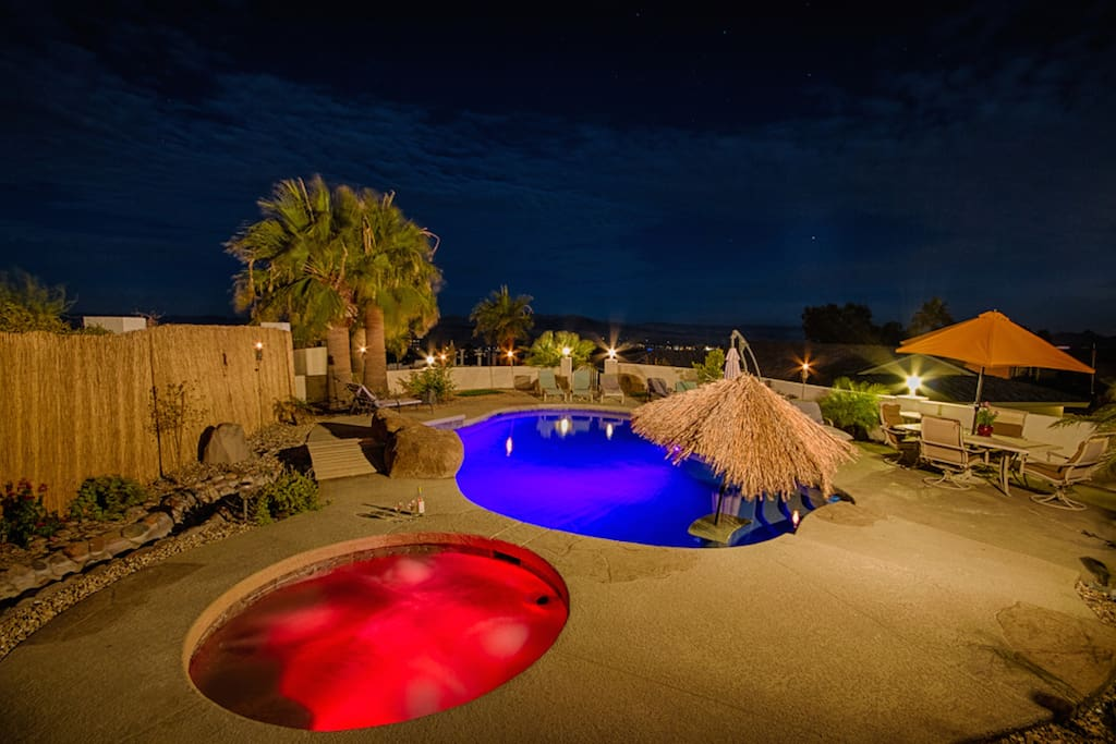 Jacuzzi and Pool at night