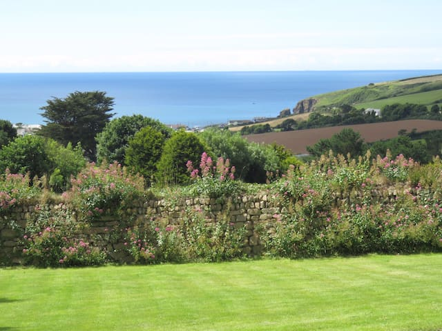 Looking south from the garden, out over the Golf Course to sea.