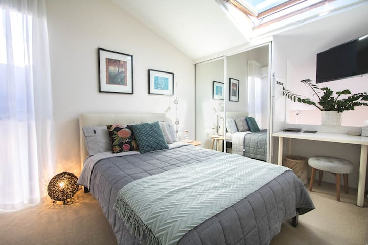 Your room has a skylight and window that can be opened for fresh air. It also has a blind if you prefer to sleep in. There is also a wall fan and air conditioning.
