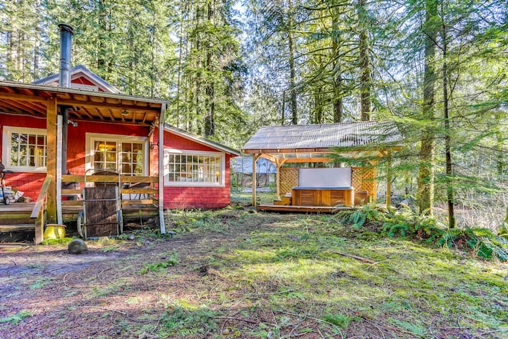 Creekside, dog-friendly cabin with private hot tub & porch!
