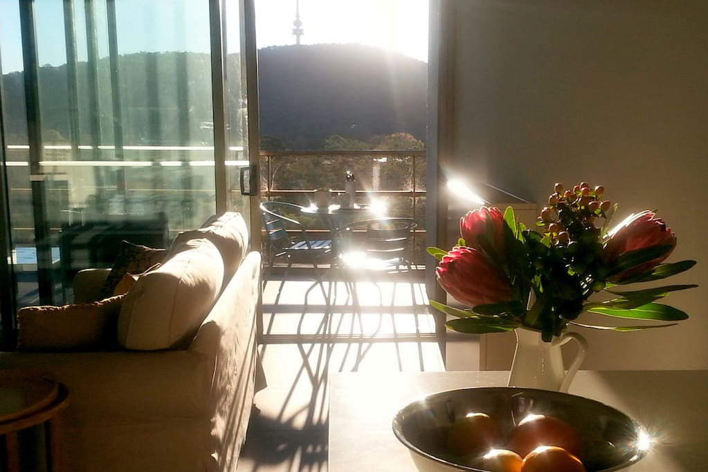 When the sun is in the northwest, autumn, winter or spring sunshine lights up the afternoons. The generous balcony has a small dining setting and a modular lounge and table. The balcony can be open or fully enclosed.