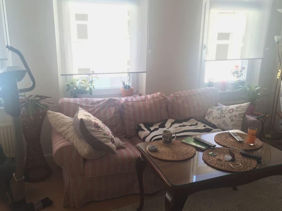 Wohnzimmertageslicht durchflutet