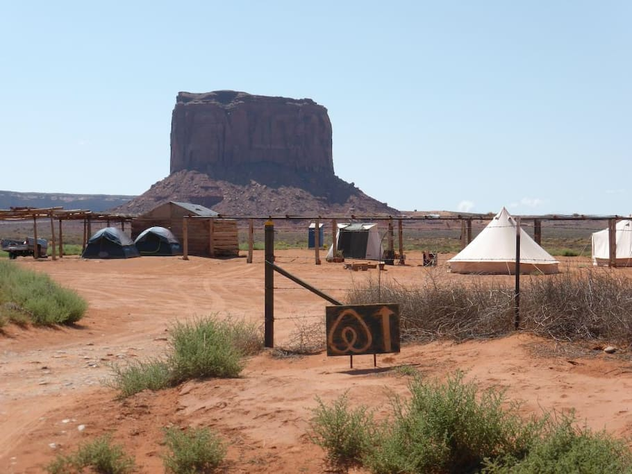 Campground is at Mile Post 1 Monument Valley Road East on the Arizona side of the border.