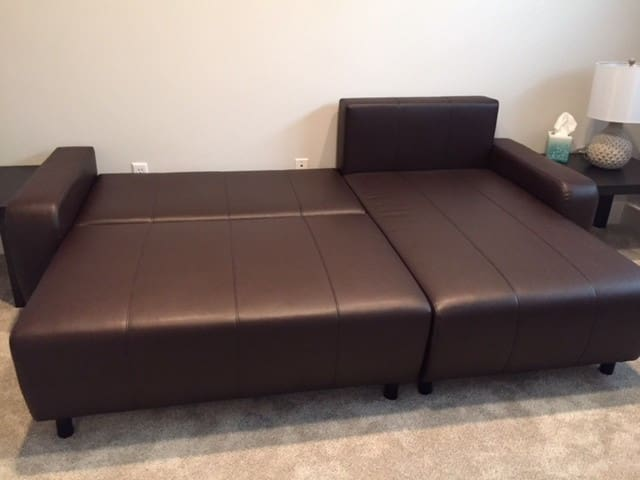 The bed comfortably sleeps two when expanded.