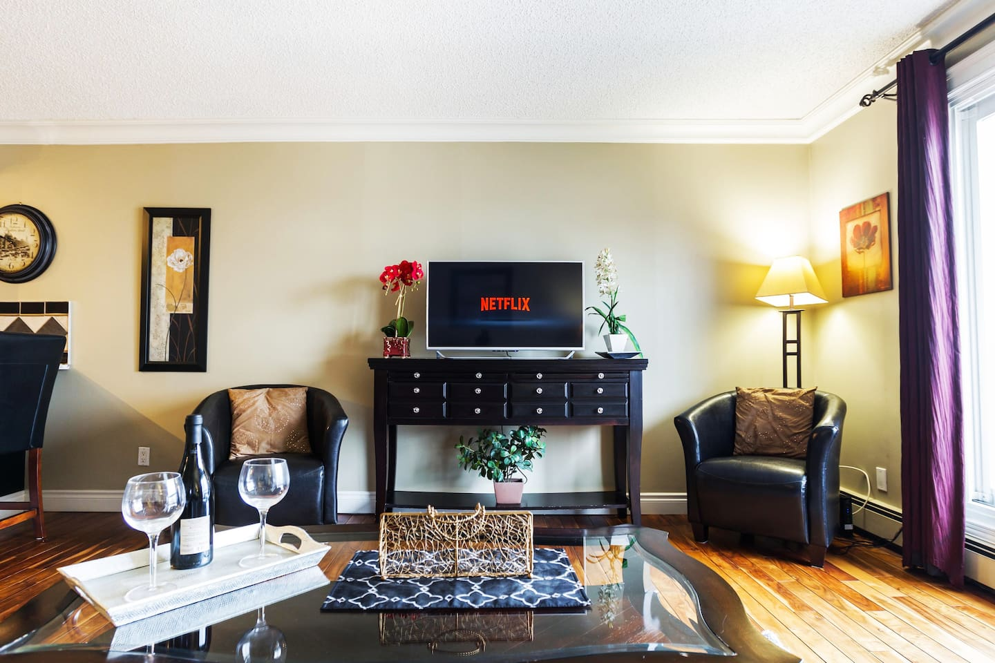Snuggle up with your significant other with a bottle of wine and Netflix!