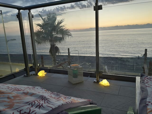 Seafront apartment in front of the Aeolian Islands