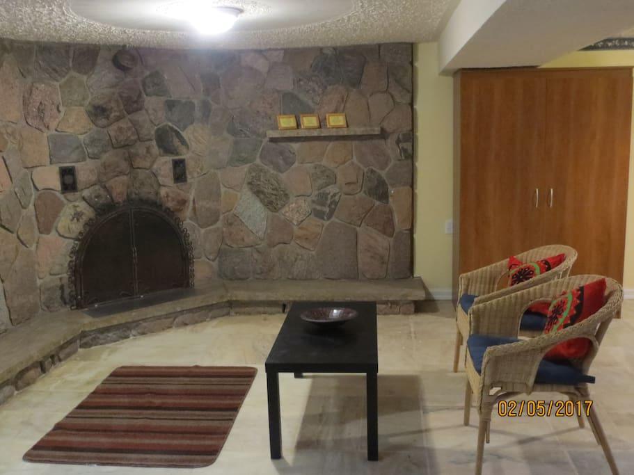 Fireplace facing view