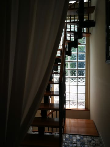 The staircase leading up to your space