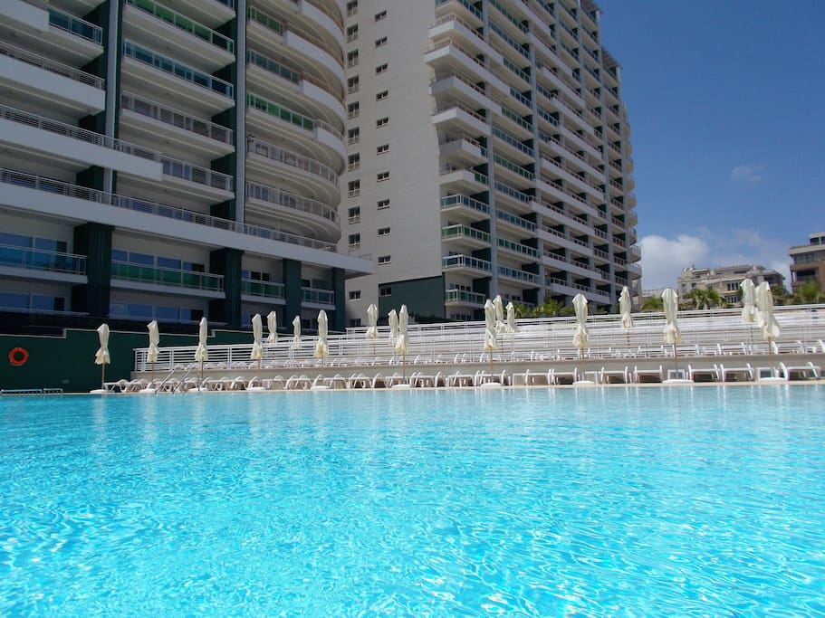 Complex communal pool