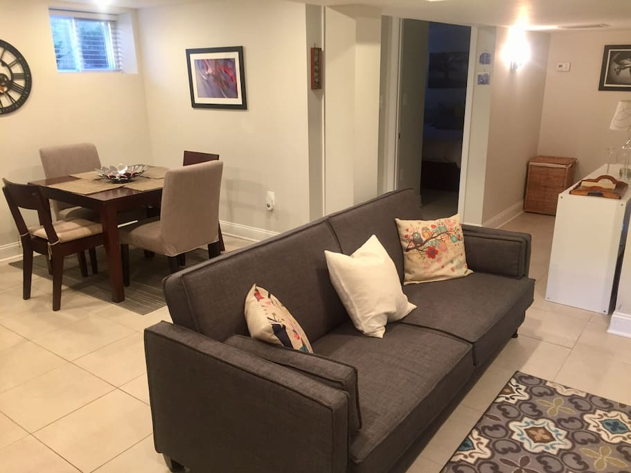 Living and dining room (couch converts into bed)