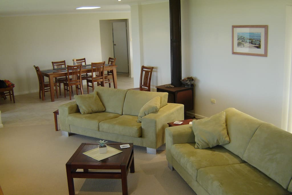 Lovely open plan living with slow combustion heater and air-con