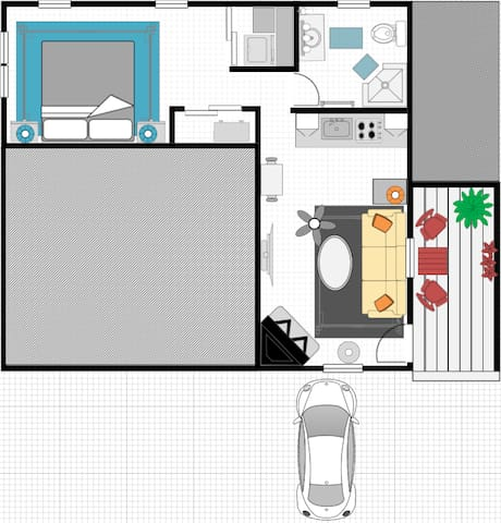 Floor Plan of Carriage House (may not be 100% accurate to scale)