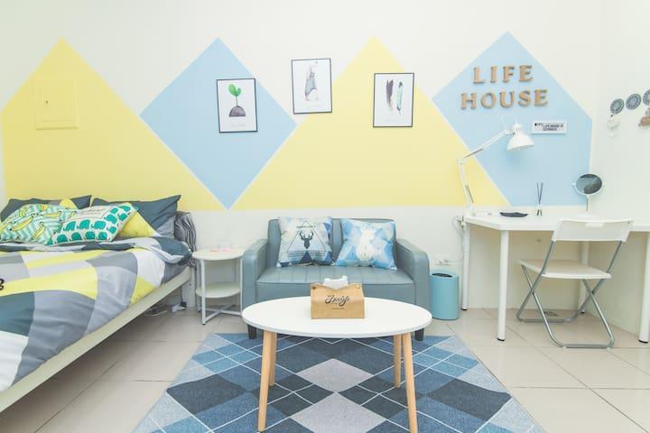 Life House-D 近園區/清大/交大/新莊火車站,背包客&差旅,面試,考試,清新舒適的好選擇