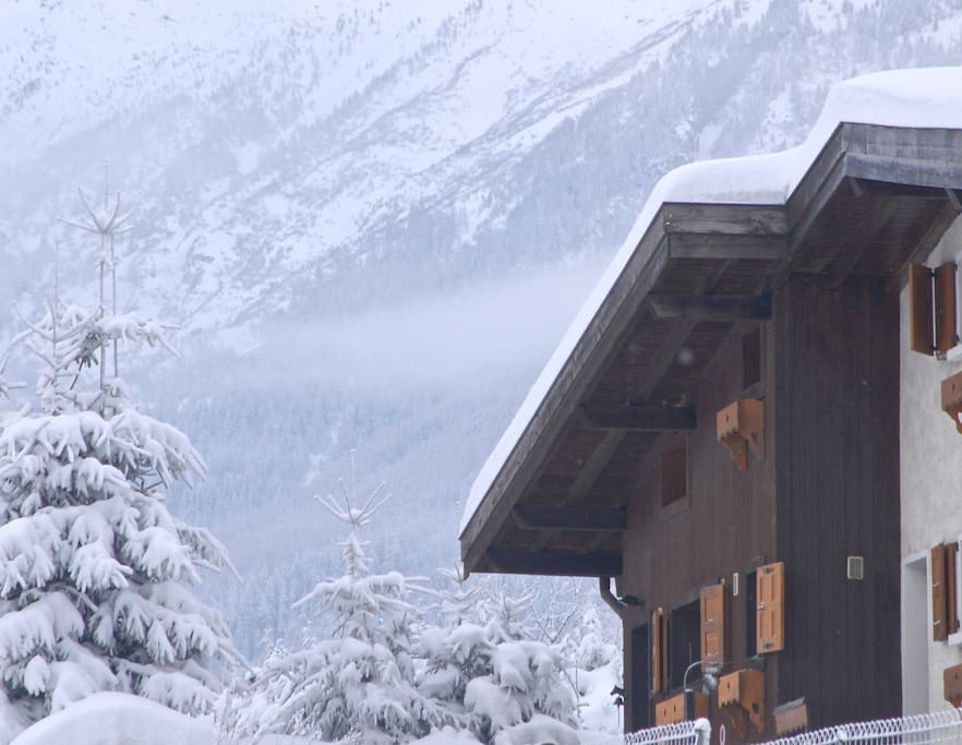 The chalet is the end property in a row of four chalets.