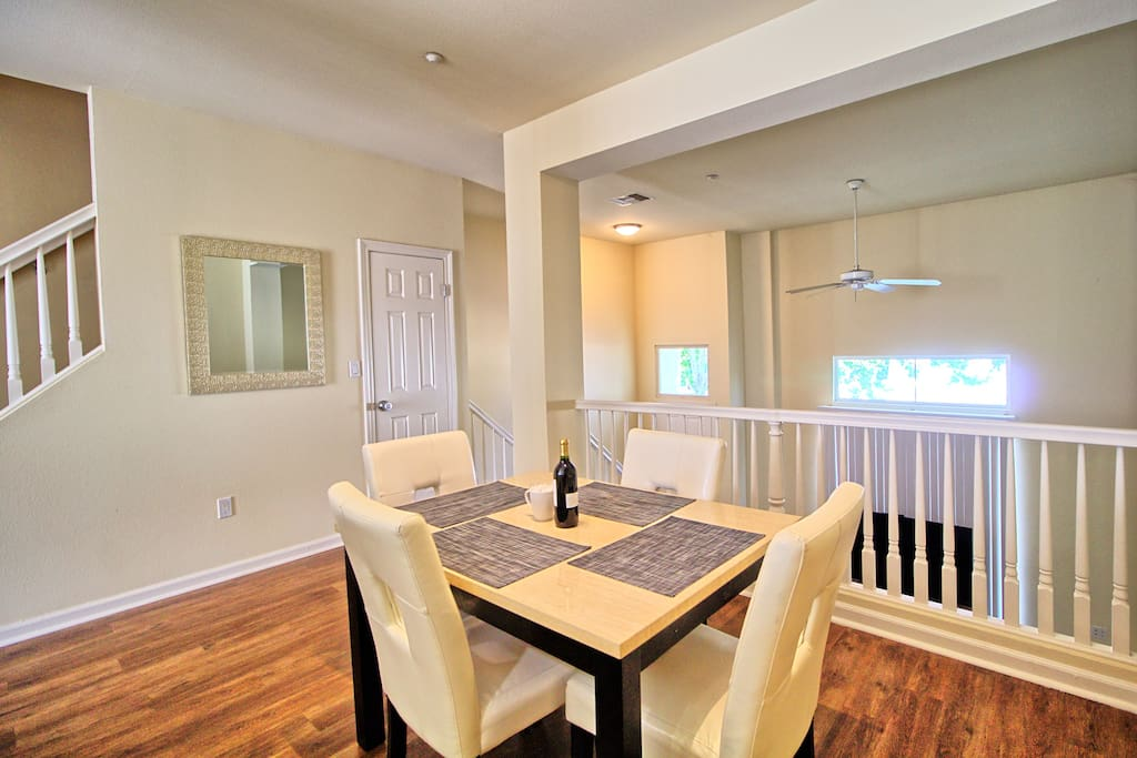 Dining overlooking family room