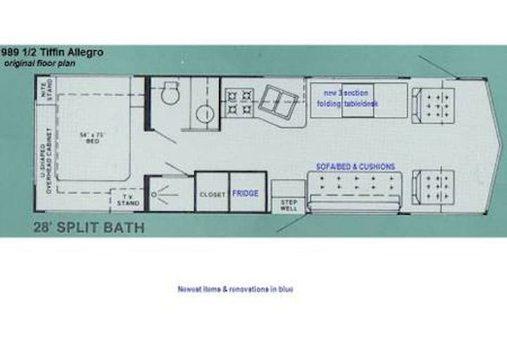 Floor plan of this motorhome (blue text = recent renovations)