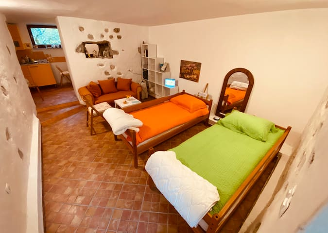 2 separate beds that can be joined together + additional 2 children can sleep on the pull-out sofa / or additional foldable bed / or a baby crib can be provided