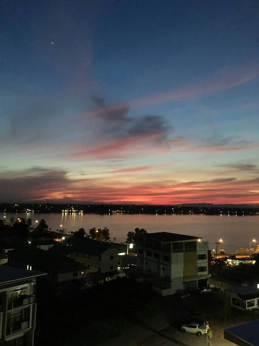 Beautiful sunset across the lake