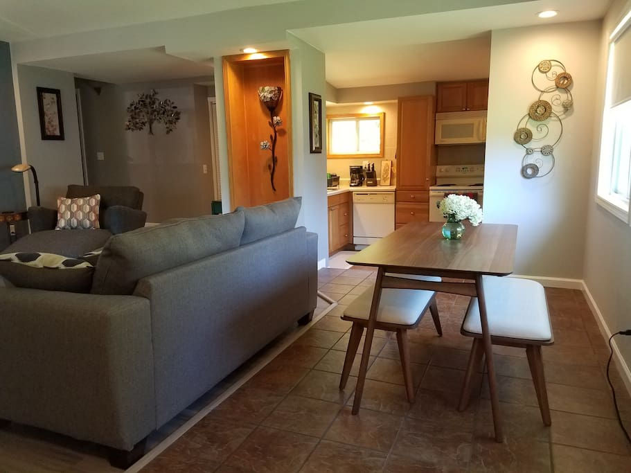 Dining Space and kitchen plus sofa is a full sleeper with memory foam mattress..