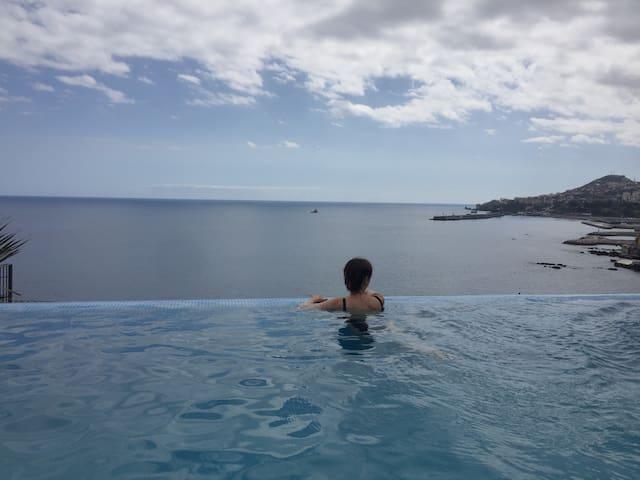 Infinity pool overlooking Funchal Bay.