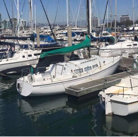 Cozy Sail boat at The Marina Harbor