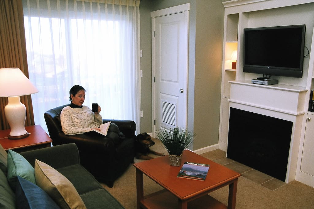 The living area offers comfortable seating, fireplace, large screen tv, dvd player.