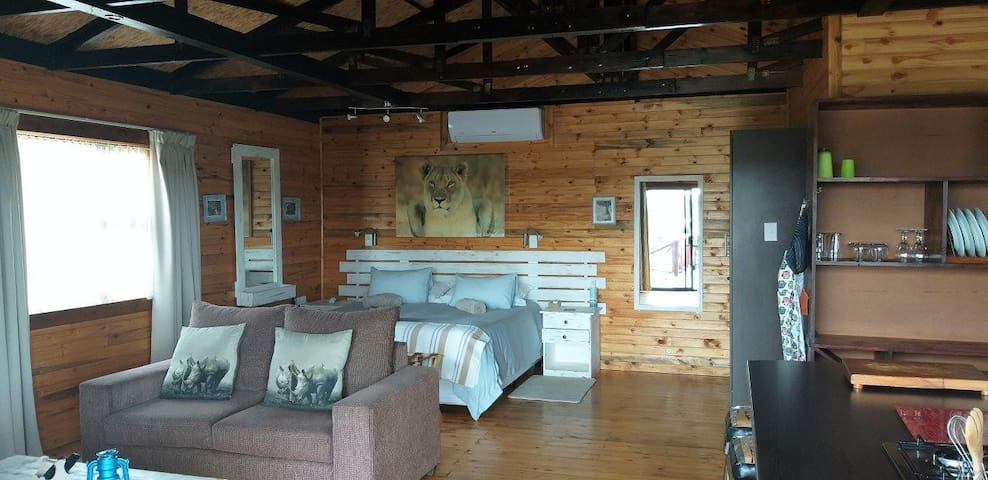 Cabin 1 with king-size bed and couch that can double as couch or double bed sleeper couch