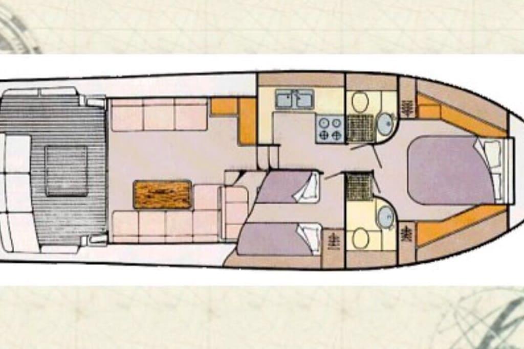 Distribución del yate: 2 camarotes, 2 baños, cocina, salon-comedor...