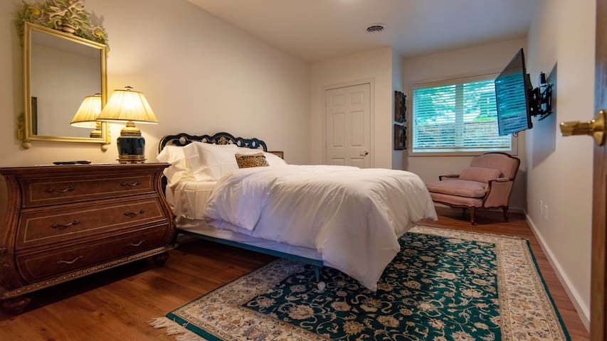 Bedroom with queen sized bed, roiku tv.