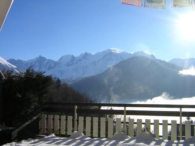 Appartement 4 pers. Grande terrasse vue Mont-Blanc