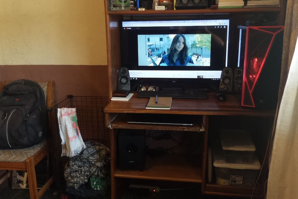PC with 5.1 home theater and clothes basket