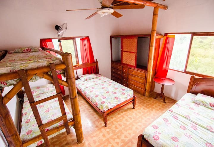 Single bed in a gorgeous dormitory.