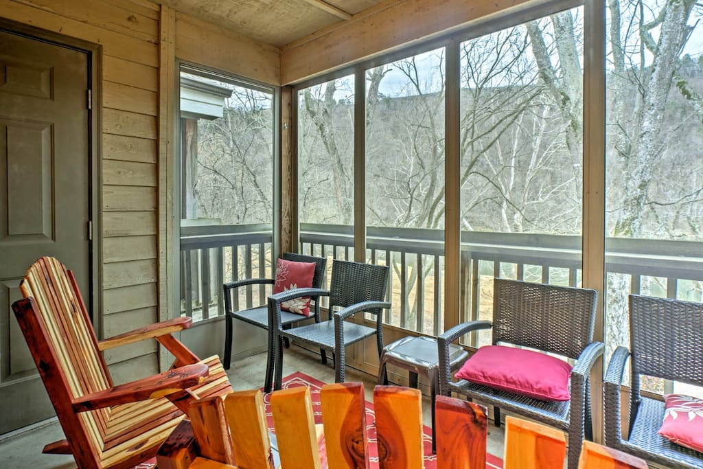 Start each morning with a warm cup of coffee on the screened porch!
