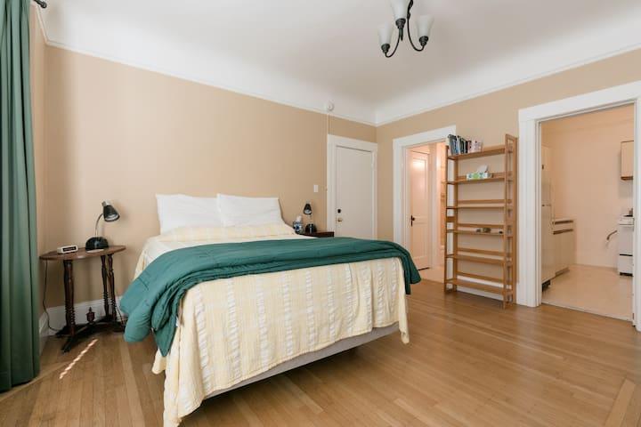Main room showing premium comfort bed, nightstands, main door, bookshelves, bathroom and kitchen doors