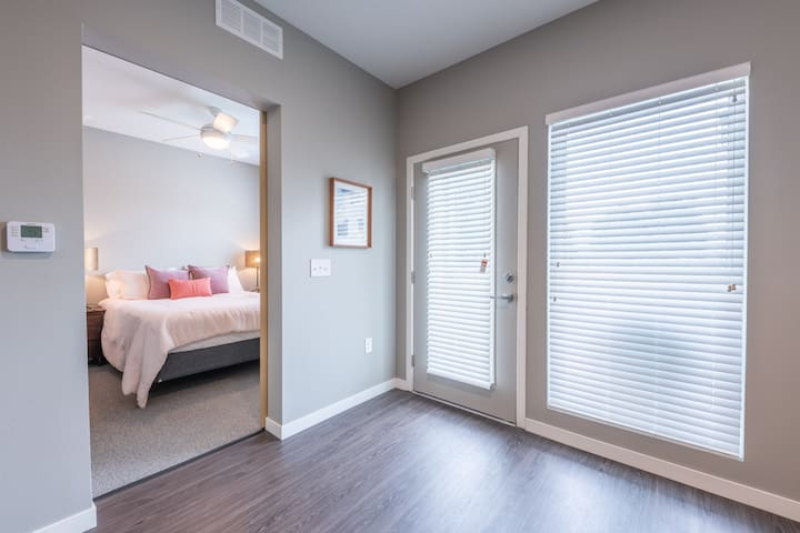 Just off the main living area is the bedroom with a slider door for privacy.