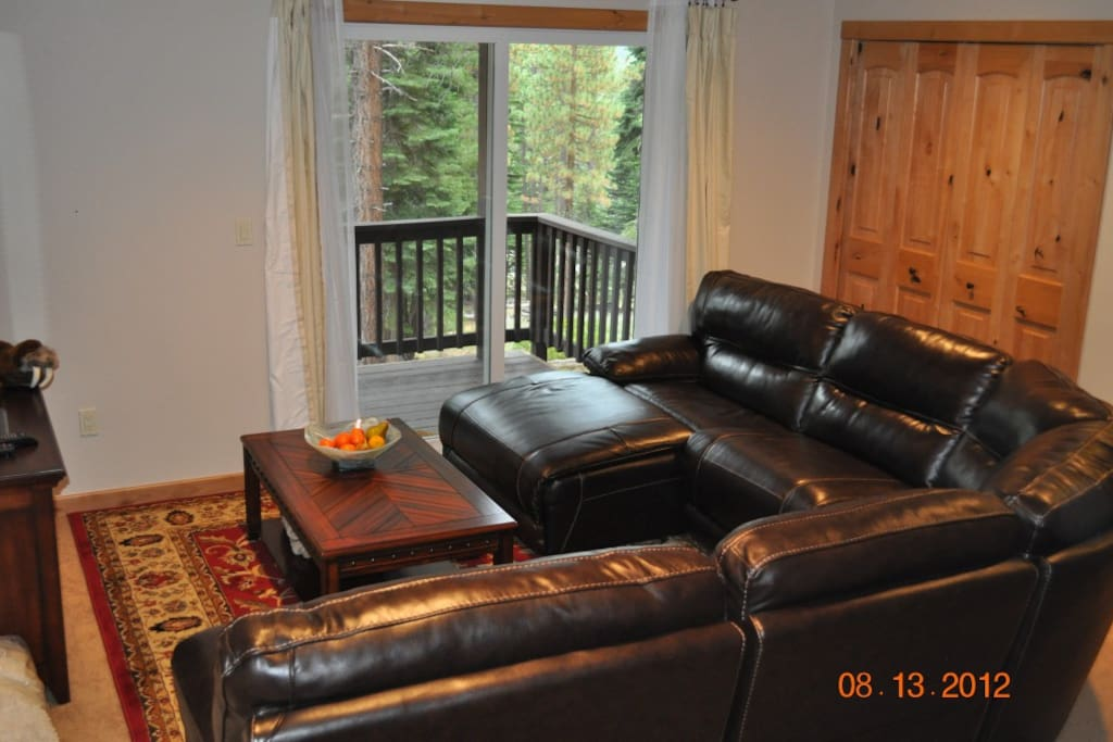 Downstairs family room with leather recliners