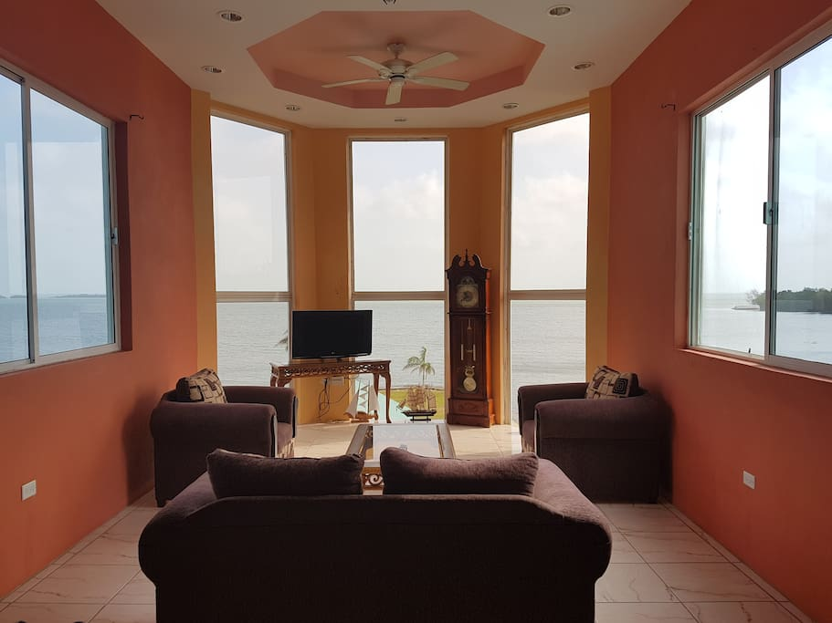 Panoramic view of the Caribbean Sea from Living Room