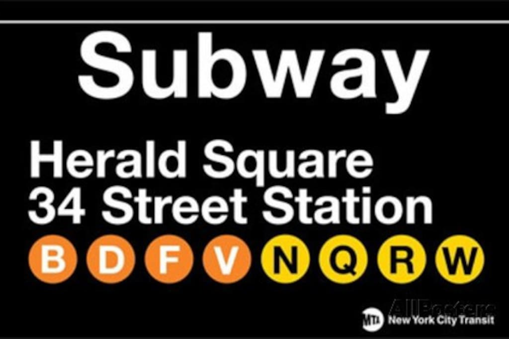 Hearld Square Subway is right at the corner.  Penn Station 1 block away!!